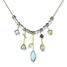 Five Stick Blue Topaz Edge Necklace by Suzanne Q Evon (Gold, Silver & Stone Necklace)