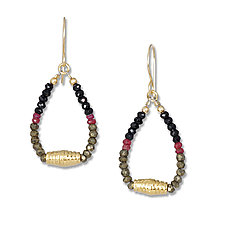 Ruby, Spinel and Gold Earrings by Suzanne Q Evon (Gold & Stone Earrings)