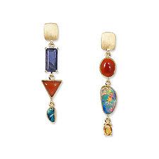 Opal, Carnelian & Mixed-Stone Asymmetrical Earrings by Suzanne Q Evon (Gold & Stone Earrings)