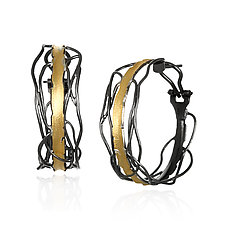 Black and Gold Edge Post Earrings by Suzanne Q Evon (Gold & Silver Earrings)