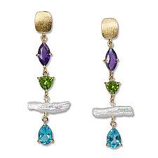 Pearl & Multi-Stone Drop Earrings by Suzanne Q Evon (Gold, Silver, Pearl & Stone Earrings)