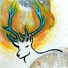 Blue Antlers by Jacqui Larsen (Oil Painting)