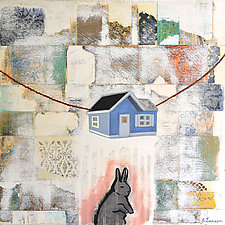 Gray Rabbit on Tiptoe by Jacqui Larsen (Oil Painting)