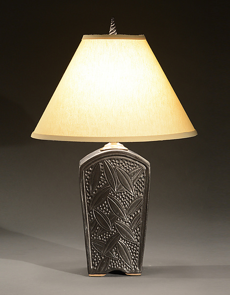 Tall Keystone Lamp with Leaves