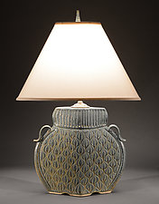 Arts and Crafts Lamp with Figure Eight Carving by Jim and Shirl Parmentier (Ceramic Table Lamp)