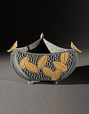 Three Sided Bowl with Birds and Colored Leaf Carving by Jim and Shirl Parmentier (Ceramic Bowl)