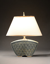 Keystone Lamp with Figure Eight Carving by Jim and Shirl Parmentier (Ceramic Table Lamp)