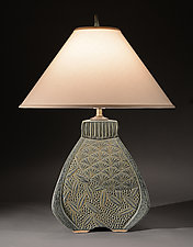 Three Sided Bulbous Lamp with Deco Carving by Jim and Shirl Parmentier (Ceramic Table Lamp)