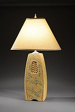 Lamp with Woven Inset and Wide Leaf Carving by Jim and Shirl Parmentier (Ceramic Table Lamp)