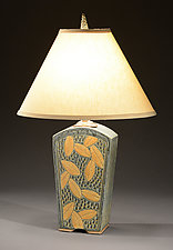 Tall Keystone Lamp with Colored Leaf Carving by Jim and Shirl Parmentier (Ceramic Table Lamp)