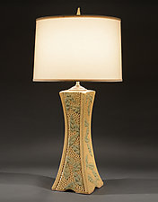 Grove Arcade Lamp with Wide Leaf Carving by Jim and Shirl Parmentier (Ceramic Table Lamp)