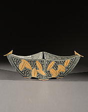 Four Sided Bowl with Birds and Colored Leaf Carving by Jim and Shirl Parmentier (Ceramic Bowl)