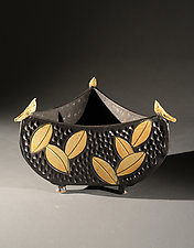 Three Sided Bowl with Birds and Colored Leaves by Jim and Shirl Parmentier (Ceramic Bowl)