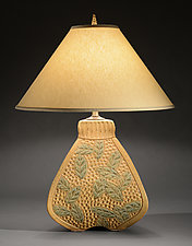 Three Sided Bulbous Lamp with Wide Leaf Carving by Jim and Shirl Parmentier (Ceramic Table Lamp)