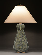 Tall Fan Lamp with Ginkgo Carving by Jim and Shirl Parmentier (Ceramic Table Lamp)