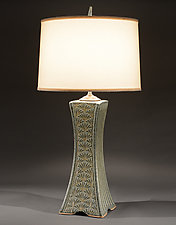 Grove Arcade Lamp with Ginkgo Carving by Jim and Shirl Parmentier (Ceramic Table Lamp)