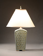 Tall Keystone Lamp with Figure Eight Carving by Jim and Shirl Parmentier (Ceramic Table Lamp)