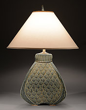 Three Sided Bulbous Lamp With Figure Eight Carving by Jim and Shirl Parmentier (Ceramic Table Lamp)