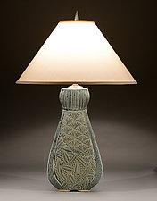 Tall Fan Lamp with Deco Carving by Jim and Shirl Parmentier (Ceramic Table Lamp)