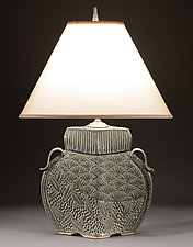 Arts and Crafts Lamp with Deco Carving by Jim and Shirl Parmentier (Ceramic Table Lamp)