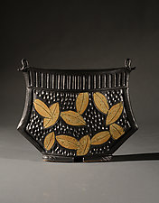Collar Vase with Colored Leaf Carving by Jim and Shirl Parmentier (Ceramic Vase)