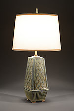 Atomic Lamp with Figure Eight Carving by Jim and Shirl Parmentier (Ceramic Table Lamp)