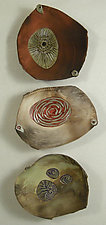 Barely Bowl Trio by Jan Jacque (Ceramic Wall Sculpture)