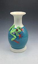 Red Eyed Tree Frog Turquoise Vase by Lisa Scroggins (Ceramic Vase)