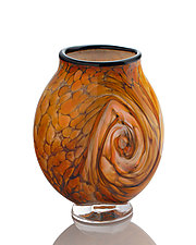 Earthtone Salmon Ruby Swirl by The Glass Forge (Art Glass Vase)
