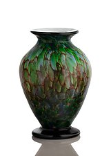 Earth tone Forest Green Vase with Black Foot by The Glass Forge (Art Glass Vase)