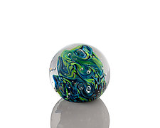 Abundant Green and Aqua Paperweight by The Glass Forge (Art Glass Paperweight)
