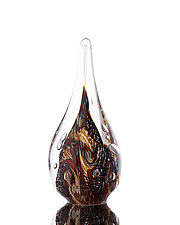 Swirled and Twisted Earthy Flame Paperweight by The Glass Forge (Art Glass Paperweight)