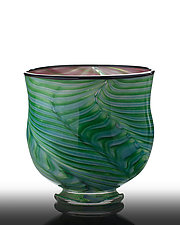 Tropical Leaf Open Bowl by The Glass Forge (Art Glass Bowl)