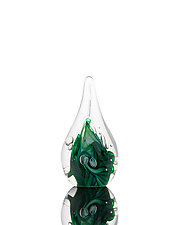 Twisted Green/Blue Aventurine Paperweight by The Glass Forge (Art Glass Paperweight)