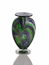 Reverse Axis Purple/Green Flat Vase by The Glass Forge (Art Glass Vase)