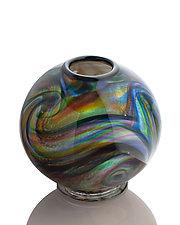 Swirled Dorae Ball Vase by The Glass Forge (Art Glass Vase)