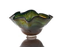 Extra Large Wave Bowl in Striated Greens by The Glass Forge (Art Glass Bowl)