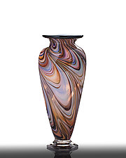 Southwest Mesa Feathered Vase by The Glass Forge (Art Glass Vase)