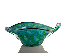Green/Blue Double Diamond Large Freeform Bowl by The Glass Forge (Art Glass Vase)