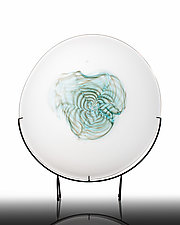Floating Aqua Swirl by The Glass Forge (Art Glass Sculpture)
