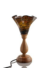 Myrtlewood Table Lamp with Yosemite Bronze Shade by The Glass Forge (Art Glass & Wood Table Lamp)