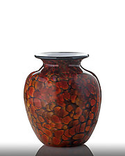 Earth Tone Ruby Vase by The Glass Forge (Art Glass Vase)