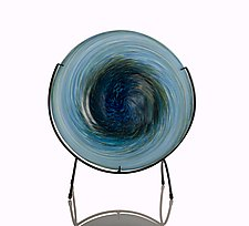 Deep Aqua Blue Swirl Plate by The Glass Forge (Art Glass Platter)