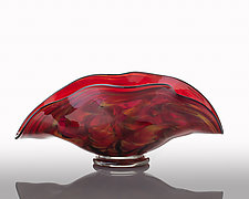 Cauldron Red Clam by The Glass Forge (Art Glass Bowl)