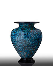 Earth Tone Crater Lake Blue Vase with Black Foot by The Glass Forge (Art Glass Vase)