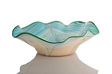 Undersea Blue and Green Feathered Wave Bowl by The Glass Forge (Art Glass Bowl)