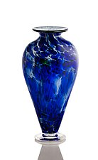 Classic Cobalt Flat Vase by The Glass Forge (Art Glass Vase)