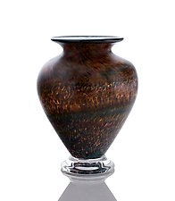 The Perfect Squat Vase with Striated Browns by The Glass Forge (Art Glass Vase)