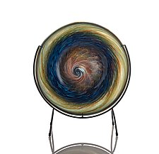 Deep Earthtone Blue Swirl Plate by The Glass Forge (Art Glass Platter)