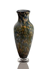 Classically Shaped Vase with Steel Blue and Beige by The Glass Forge (Art Glass Vase)